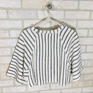 Anthropologie Tops - Anthropologie Dolan Striped Cropped Textured Top
